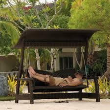 exterior all weather wicker patio swing with canopy set awesome