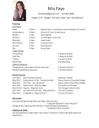 Performance Resume Sample by Wonderful Dance Performance Resume 72 For Professional Resume