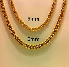 gold metal chain necklace images 18 quot 30 quot men 39 s stainless steel 5mm 6mm 24k gold plated cuban link jpg