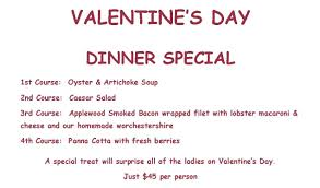 valentines specials special entree pass christian yacht club