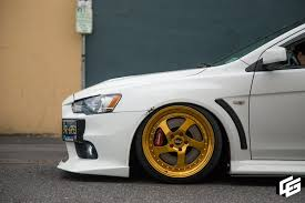 mitsubishi evo stance evo x gets stanced with proper wheels revwerks wheels online