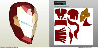 papercraft pdo file template for invincible iron man helmet