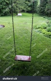 old wooden swing sitting lush backyard stock photo 53033854