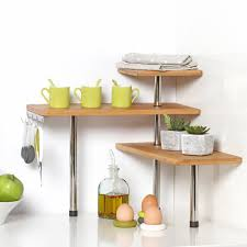 bamboo and stainless steel corner shelf unit kitchen bathroom