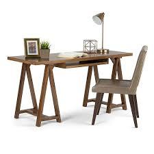 60 x 24 desk simpli home sawhorse 60 x 24 x 30 inch desk in medium saddle brown