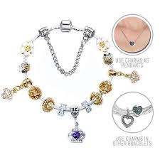 necklace pandora style images Golden queen silver and golden pandora style bracelet combo set jpg