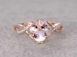 cushion diamond ring 2 4 carat cushion cut morganite engagement ring diamond promise