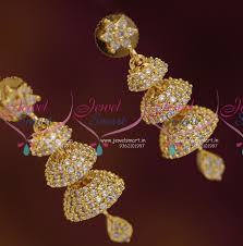 stylish gold earrings j6871 stylish cz white 3 layer jhumki earrings fashion