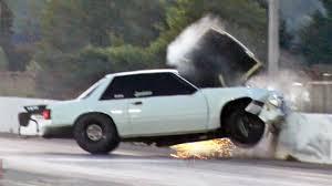 Black Mustang Crash Mustang Wreck From Big Wheelie Youtube