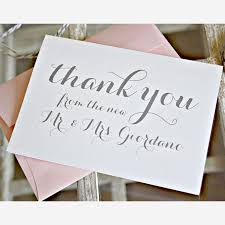 thank you wedding cards classic cursive font thank you card brides