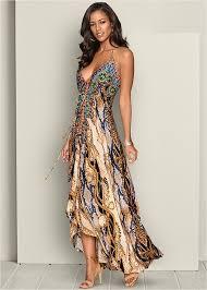 maxi dress low back printed maxi dress in multi venus