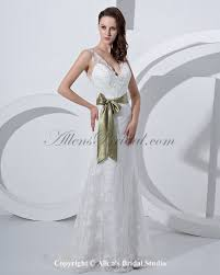 allens bridal satin and lace v neck court train sheath wedding dress
