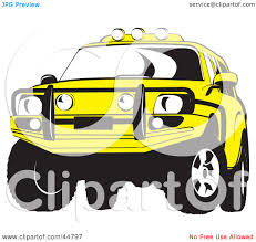 yellow jeep royalty free rf clipart illustration of a yellow jeep suv with a