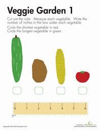 measuring length veggies worksheet education com