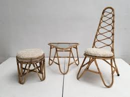 rattan stool table u0026 highback chair with faux fur cushions from