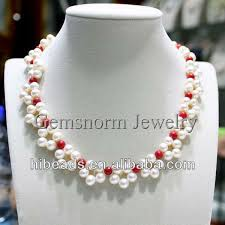 pearl flower necklace images Handmade white pearl and red coral flower necklace wedding jpg