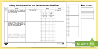 solving two step addition and subtraction word problems