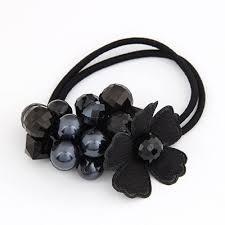 hair rubber bands korean fashion handmade flower bead charm design rubber band hair