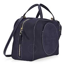 tory burch perforated logo suede satchel tory navy tory burch