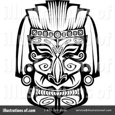 mask clipart mayan pencil and in color mask clipart mayan