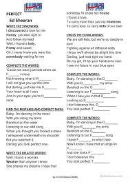 ed sheeran perfect text ed sheeran perfect worksheet free esl printable worksheets made