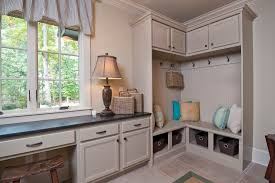 Beadboard Bench - mud room cubbies entry traditional with beadboard bench blue walls
