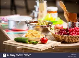 kitchen arrangement with many utensils stock photo royalty free