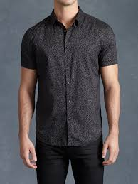 john varvatos cotton leopard print shirt in gray for men lyst