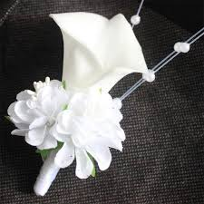 Corsages And Boutonnieres For Prom Aliexpress Com Buy White Calla Lily Flower Pearls Corsage Groom