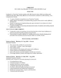 Best Resume Format For Teachers by Free Preschool Teacher Resume Template Sample Ms Word Best Resume