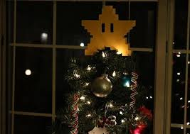 super mario bros 8 bit star christmas tree topper