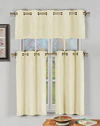 Kitchen Window Curtain Panels by Amazon Com Champagne 3 Pc Kitchen Window Curtain Set With Silver