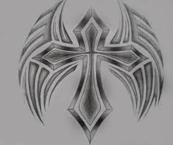 drawings of cross with tribal cross wing by artbroke on