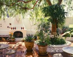 spanish courtyard designs spanish patio built in bench and fireplace and patio tiles for