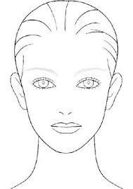blank makeup face chart template sketch coloring page