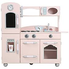 play kitchen from furniture amazon com teamson retro wooden play kitchen with