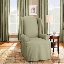 2 Piece Wing Chair Slipcover Cotton Duck Wing Chair Slipcover Sure Fit Target