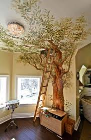 fresque murale chambre design interieur fresque murale chambre enfant 3d arbre echelle