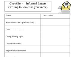 informal letter checklist by nm74 teaching resources tes