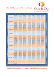 tax week u0026 month payroll calendar