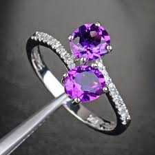 amethyst stone rings images 2 round amethyst stone solid 14k white gold pave diamond wedding jpg