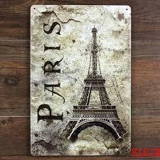 Eiffel Tower Garden Decor Paris Eiffel Tower Metal Plaque Vintage Bar Iron Painting House