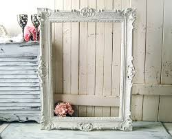 white ornate vintage frame large farmhouse white open frame