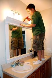 framing bathroom mirrors with crown molding how to frame a mirror for a dramatic upscale look liquid nails