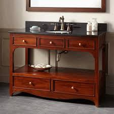 open shelving bathroom vanity white porcelain console sink dark