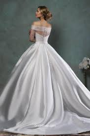 simple ball gown satin wedding dress with quarter sleeves