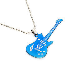 blue stainless steel necklace images Stainless steel blue black guitar pendant chain necklace for men jpg