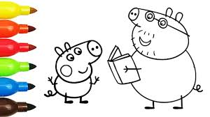daddy pig with book george pig colouring pages coloring videos