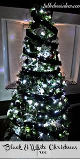 White Christmas Tree With Black Decorations Table Decor Idea Chevron Black U0026 White Christmas Theme