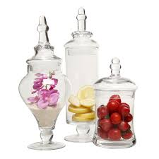 Clear Glass Canisters For Kitchen by Designer Clear Glass Apothecary Jars 3 Piece Set Mygift